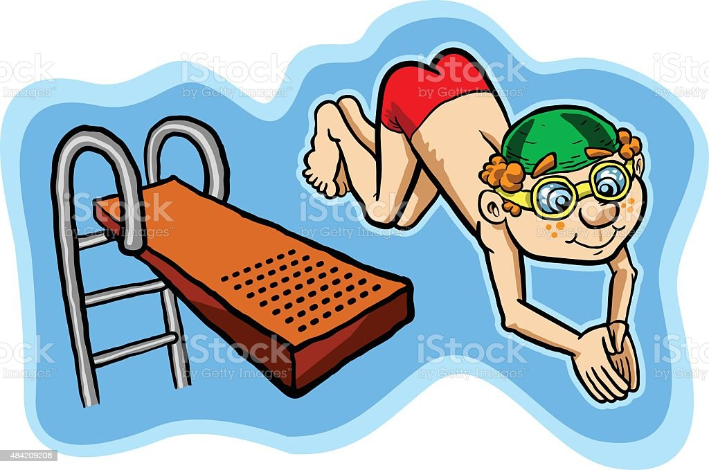 kid diving vector illustration vector art illustration
