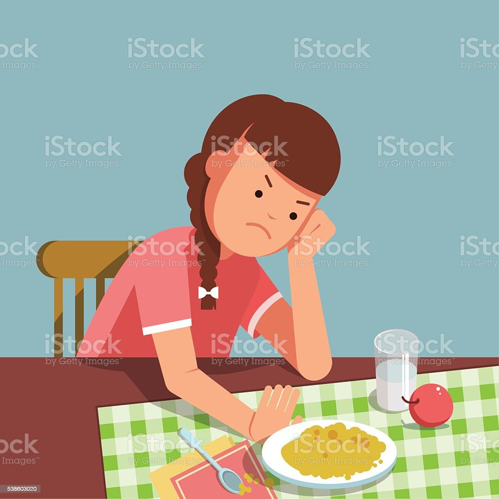 kid does not want to eat vector art illustration