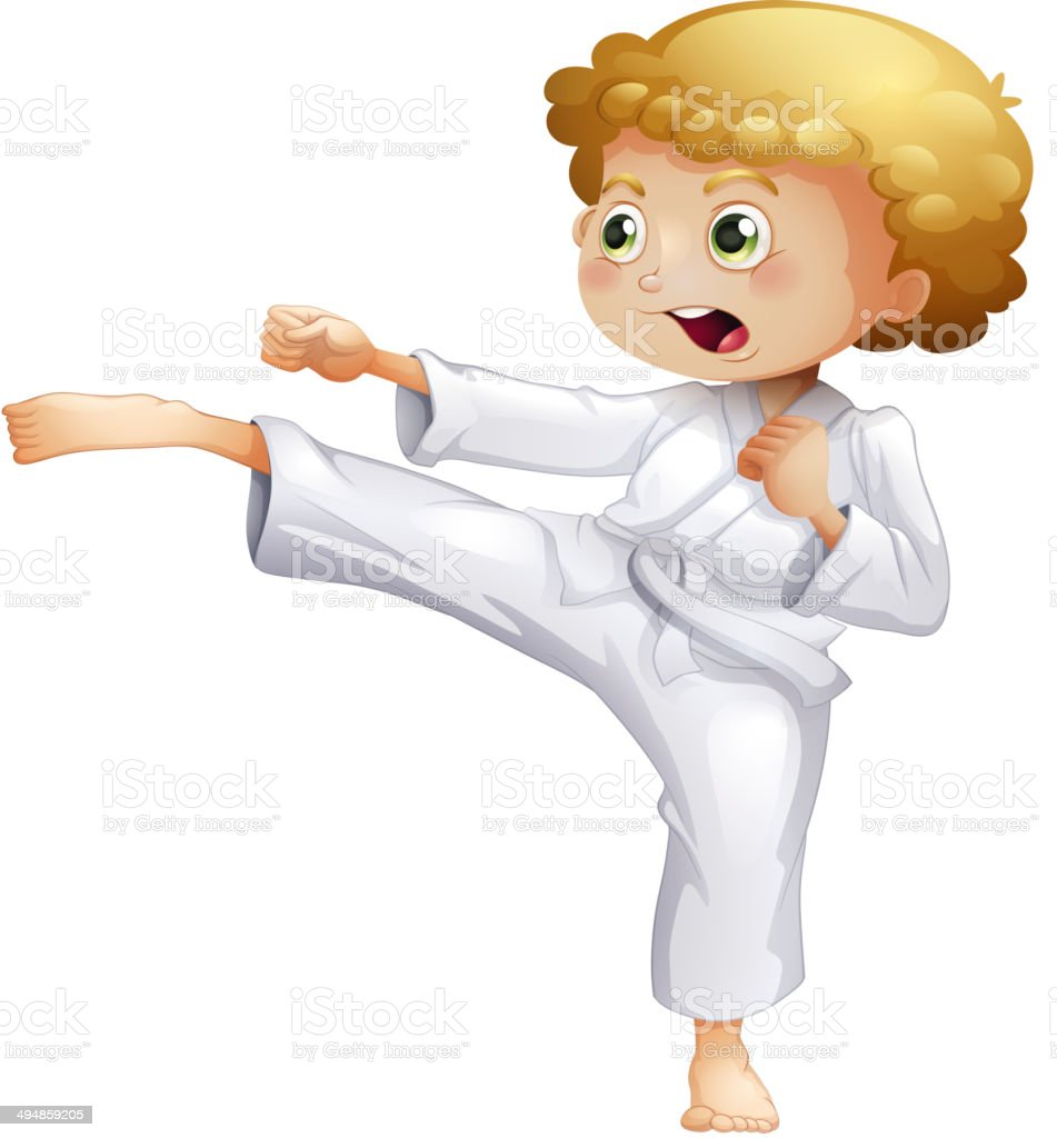 Kid doing karate royalty-free stock vector art