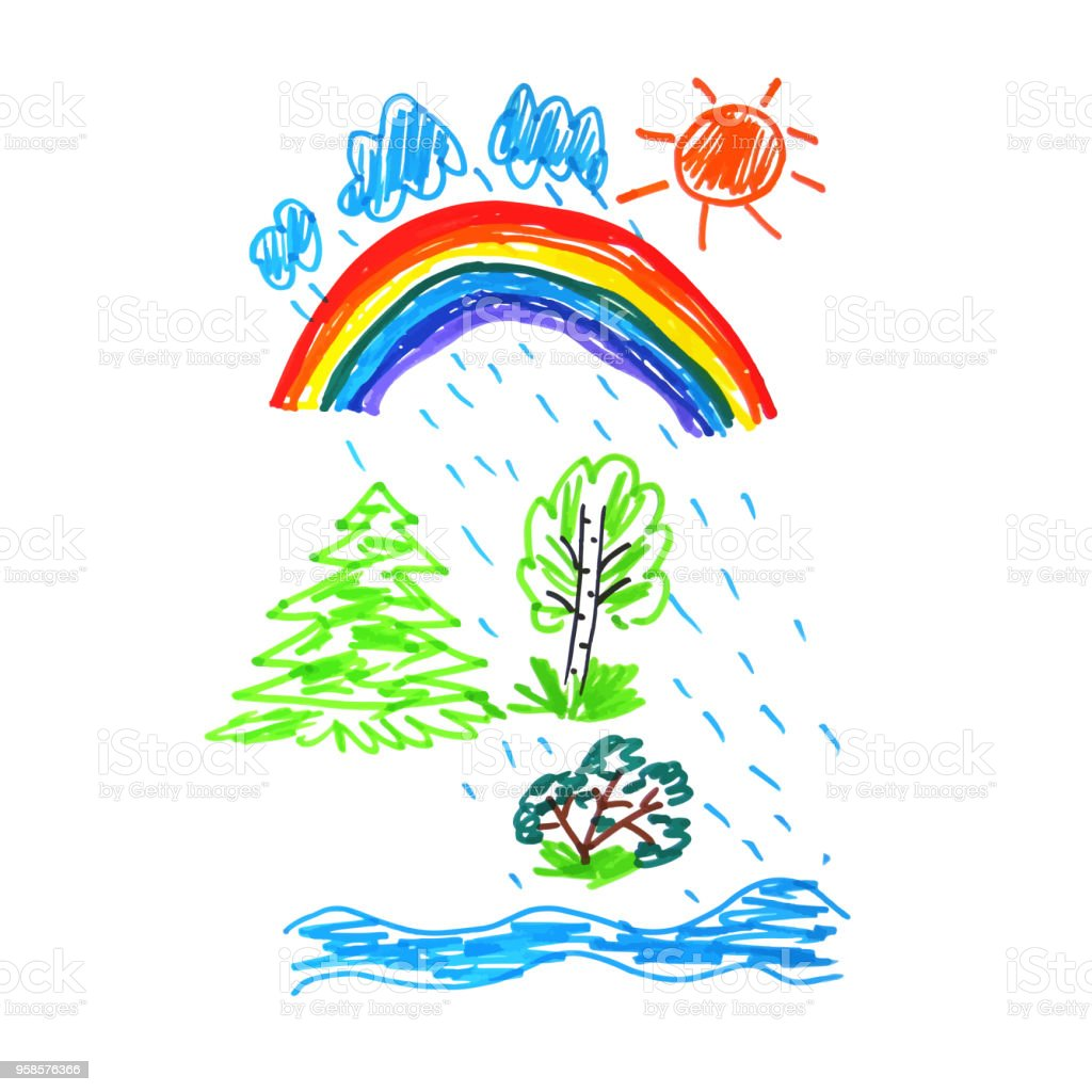 Kid doodle of summer raining day with rainbow - landscape with trees...