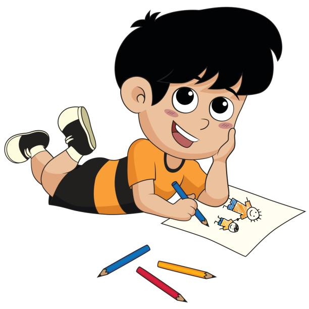 kid drawing a pictures. - art class stock illustrations, clip art, cartoons, & icons