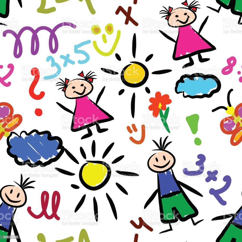 kid drawings seamless pattern background beautiful banner wallpaper design illustration royalty free stock vector art