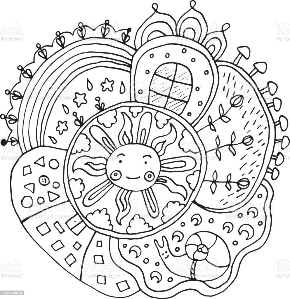 Coloriage Adulte Soleil.Kid Mandala Dessine Avec Le Soleil Et La Nature Des Elements Doodle