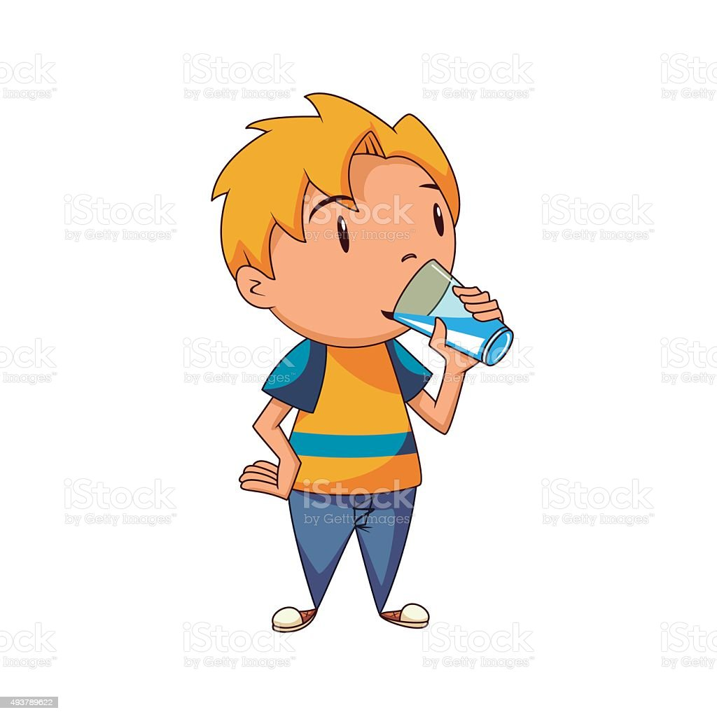 Kid drinking water vector art illustration