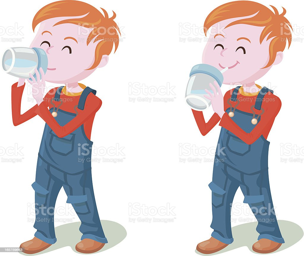 kid drinking with learning cup vector art illustration