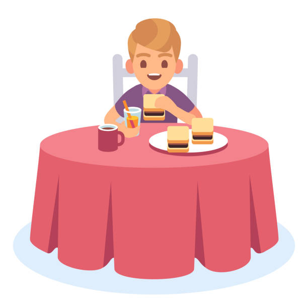 Kid eat. Child eating cooked breakfast dinner lunch, health food drink meal hungry boy table plate, cartoon character Kid eat. Child eating cooked breakfast dinner lunch, health food drink meal hungry boy table plate, cartoon vector character essen stock illustrations