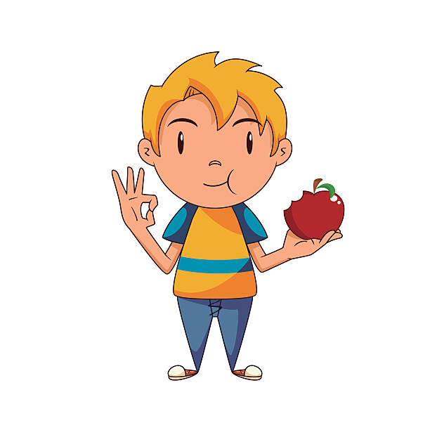 Kid eating red apple Kid eating red apple, showing ok hand sign, healthy food, fruit, vector illustration, happy cartoon character, isolated, white background hungry child stock illustrations