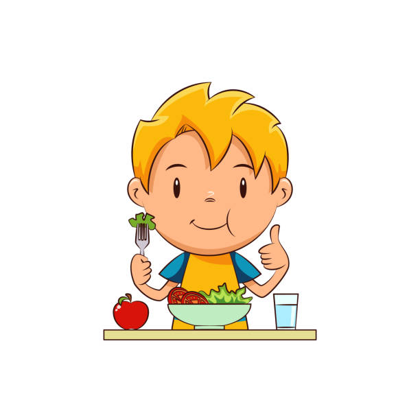 Kid eating salad Child eating salad, cute kid, eat, vegetables, healthy food, vegan, lettuce, tomato, apple, glass of water, diet, young man, person, happy cartoon character, vector illustration, isolated, white background fruit clipart stock illustrations