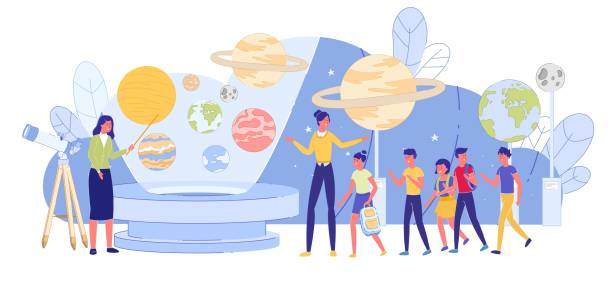 ilustrações de stock, clip art, desenhos animados e ícones de kid education excursion to interactive planetarium - teacher school solo