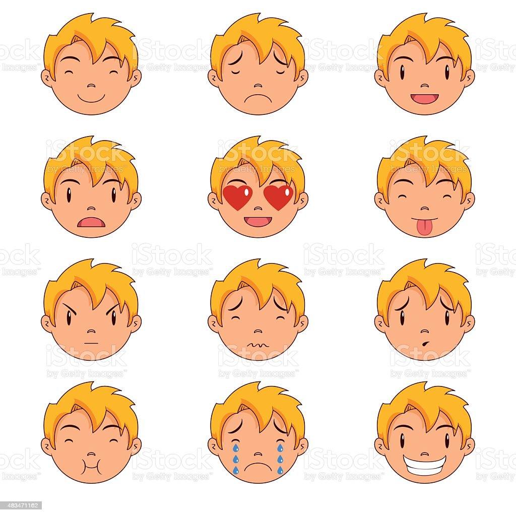 Kid emotions, faces vector art illustration