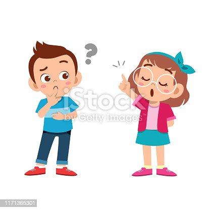 kid explain to friend vector illustration