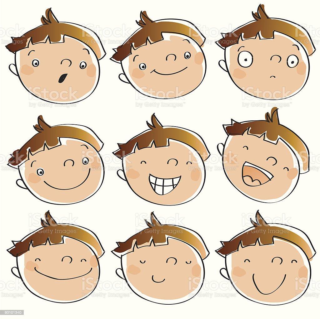kid face expressions vector art illustration