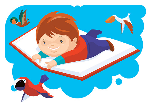 kid flying with big book