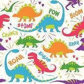 Kid Friendly Dinosaur Vector Illustration Pattern