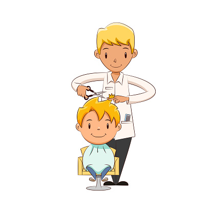Kid Getting A Haircut Stock Illustration - Download Image ...