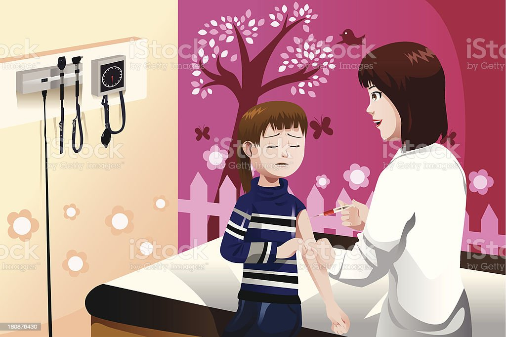 Kid getting flu shot by doctor in the arm royalty-free stock vector art