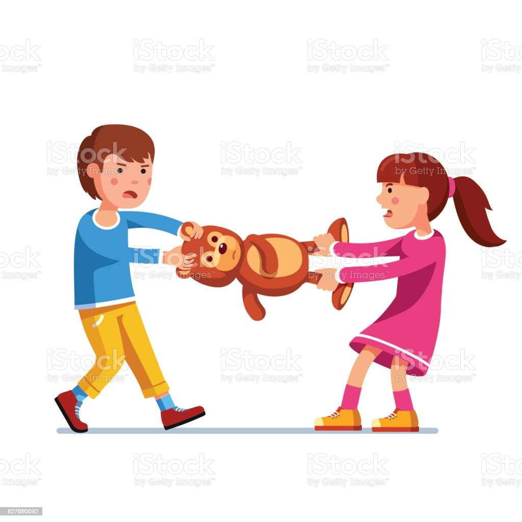 Kid girl, boy brother and sister fighting over toy vector art illustration