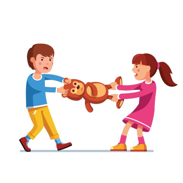 Kid girl, boy brother and sister fighting over toy Kids girl and boy brother and sister fighting over a toy. Tearing teddy bear apart pulling it holding legs and head. Flat style character vector illustration isolated on white background. arguing stock illustrations
