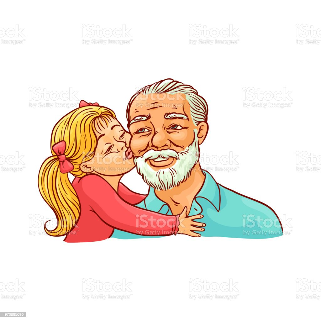 Kid girl kisses her grandfather on cheek isolated on white background. vector art illustration