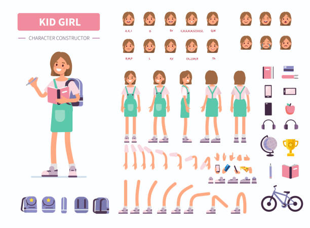 kid girl Kid girl character constructor for animation. Front, side and back view. Flat  cartoon style vector illustration isolated on white background. girls stock illustrations
