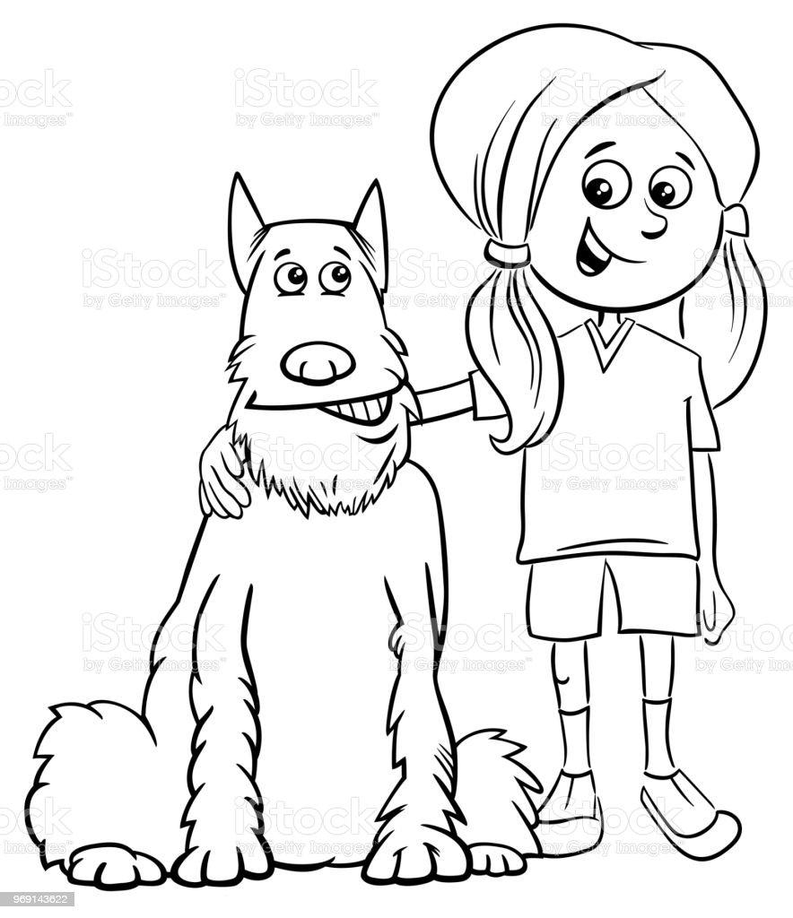 Kız çocuk Köpek çizgi Film Boyama Kitabı Stok Vektör Sanatı Hiç