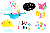 Kids design elements, books, happy birthday lettering, sky, dragon and a little girl. Vector cartoon.