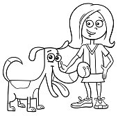 Girl With Funny Dog Cartoon Coloring Book Stock Vector Art More