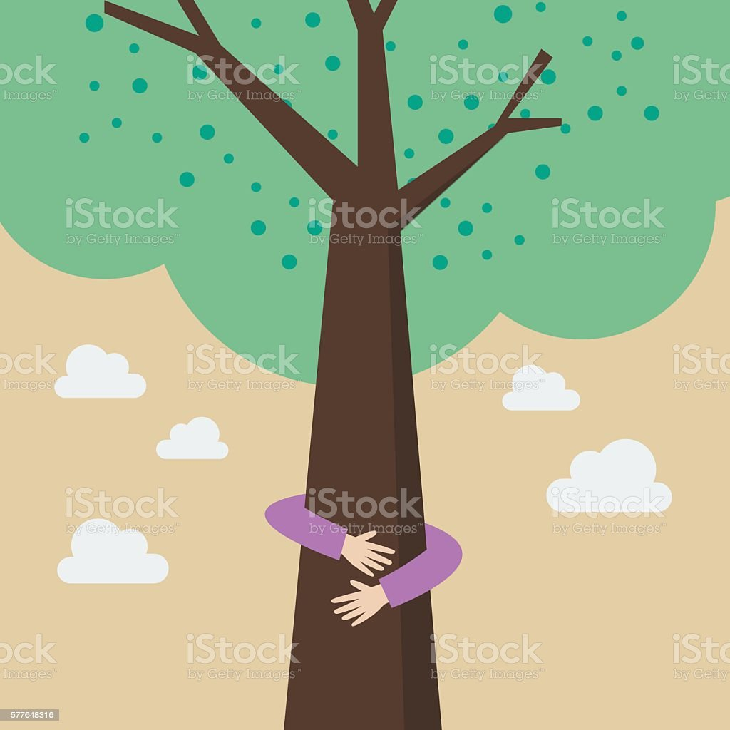 Kid hands hug tree - ilustración de arte vectorial