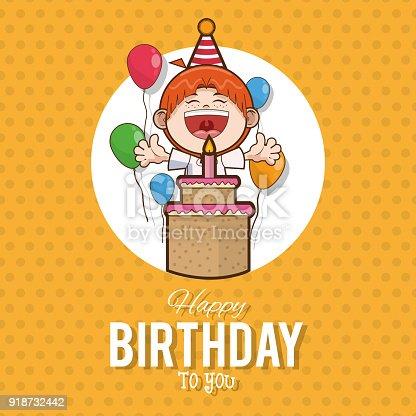Kid Happy Birthday Card Cartoon Stock Vector Art 918732442 Istock