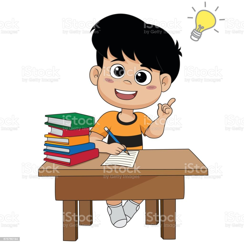 royalty free happy boy thinking lightbulb drawing clip art vector rh istockphoto com boy and girl thinking clipart boy thinking clipart png