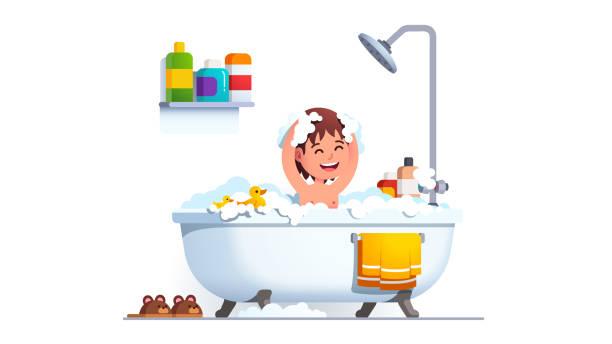 bildbanksillustrationer, clip art samt tecknat material och ikoner med kid har badkar tvätt huvud och kropp alla täckta i såll. boy tvättar sig i stort badkar med mycket schampo skum & toy duck. bedårande leende barn i bad rums. platt vektor illustration - baby bathtub