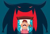 vector illustration of kid having nightmare