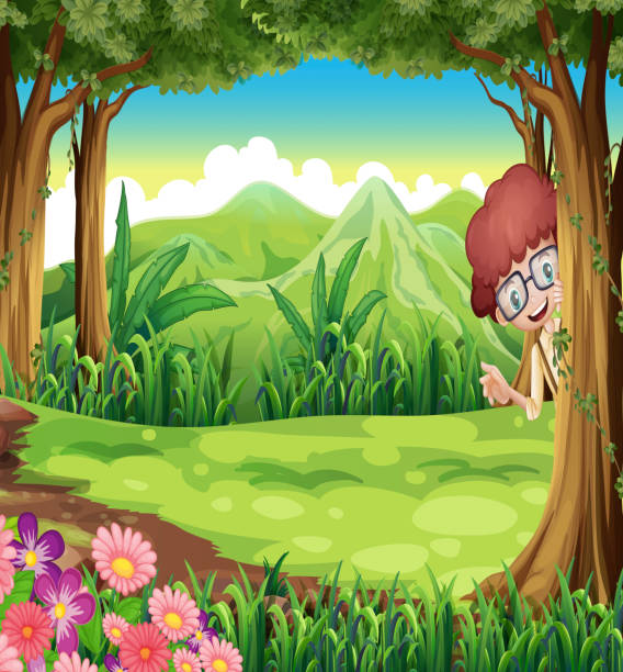 20 Boy Hiding At The Forest Clip Art Vector Graphics And