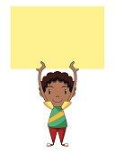 Kid holding empty yellow note, blank sign, vector illustration, cartoon character, vector illustration