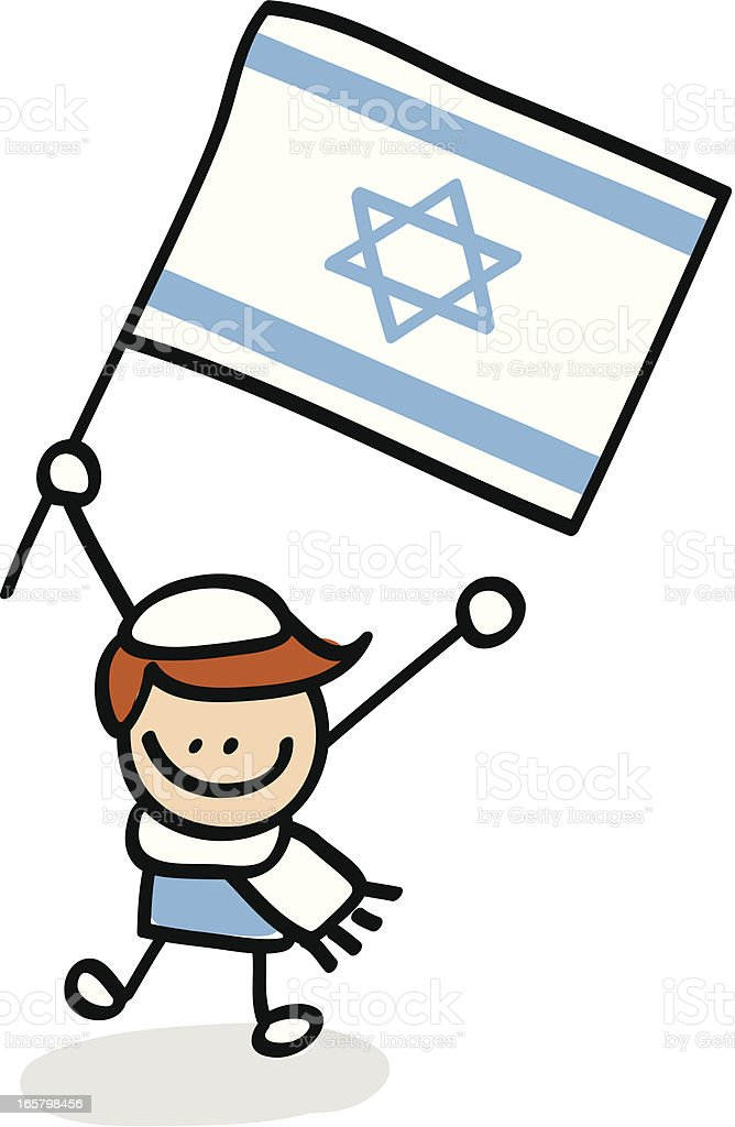 kid holding Israel flag royalty-free stock vector art