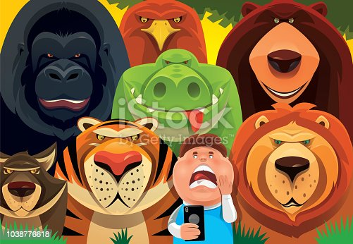 vector illustration of kid meeting with wild animals in jungle