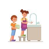 Kid housework washing dishes isolated white background