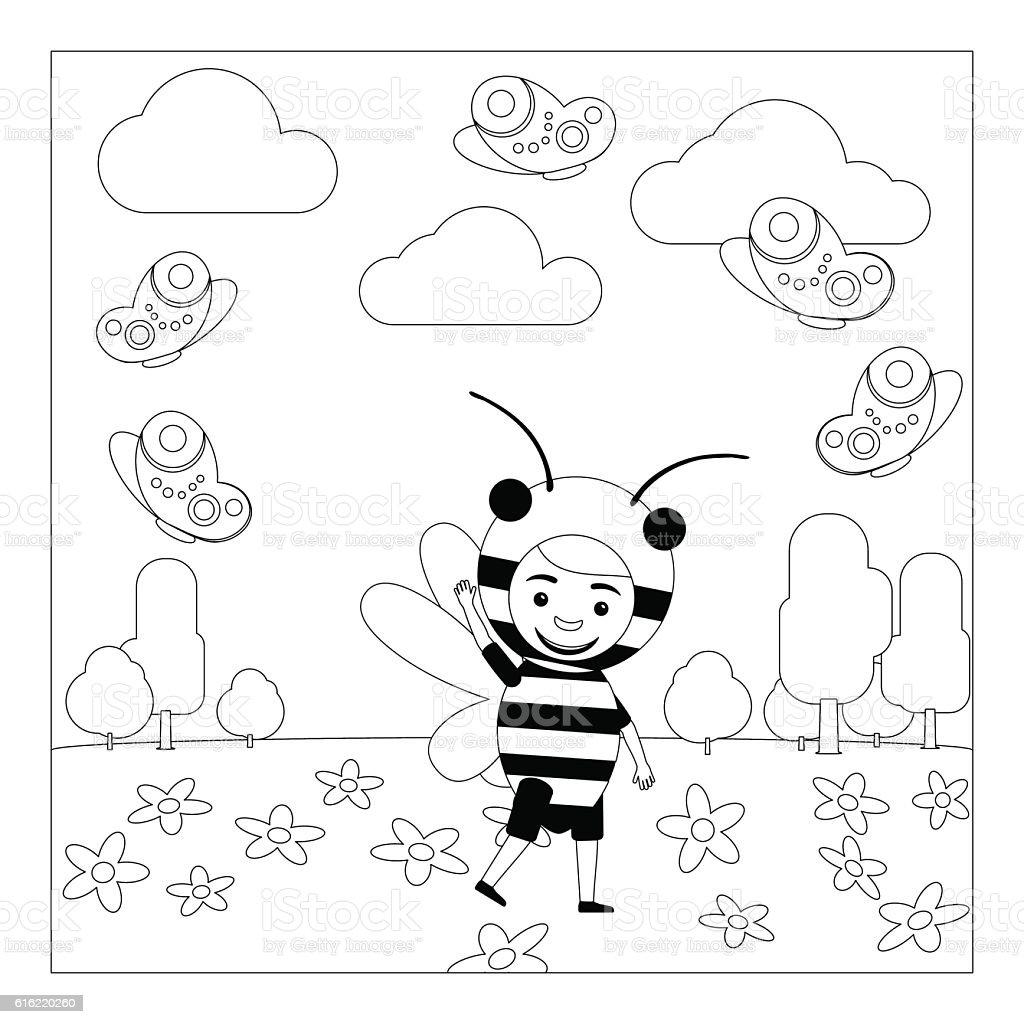 Kid In Bee Dress Coloring Page Stock Vektor Art Und Mehr Bilder Von