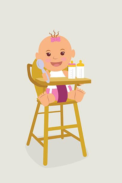 kid in windeln, die auf einem stuhl für kinder. - wickeltisch stock-grafiken, -clipart, -cartoons und -symbole