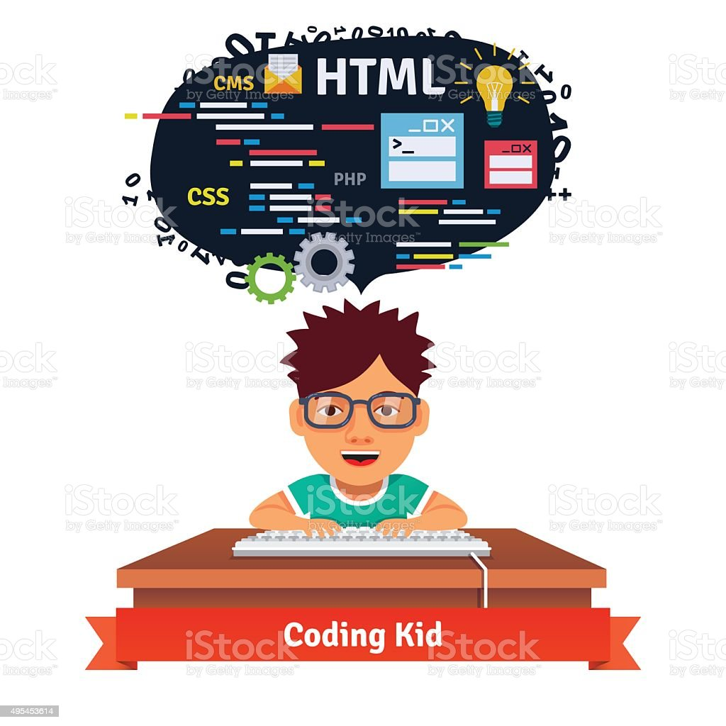 Kid is learning web design and coding vector art illustration