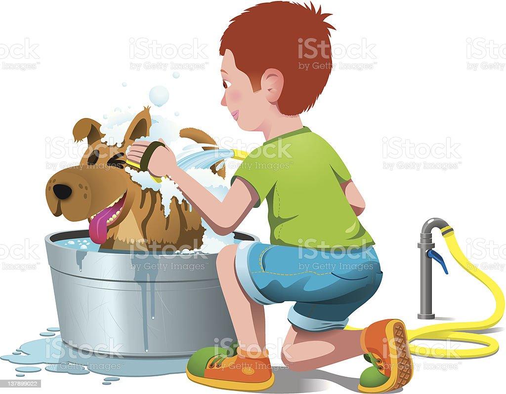 Kid is washing his Dog vector art illustration