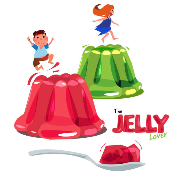 Kid jumping or playing on colorful jelly. jelly lover concept. logotype come with spoon of jelly - vector Kid jumping or playing on colorful jelly. jelly lover concept. logotype come with spoon of jelly - vector illustration jello stock illustrations