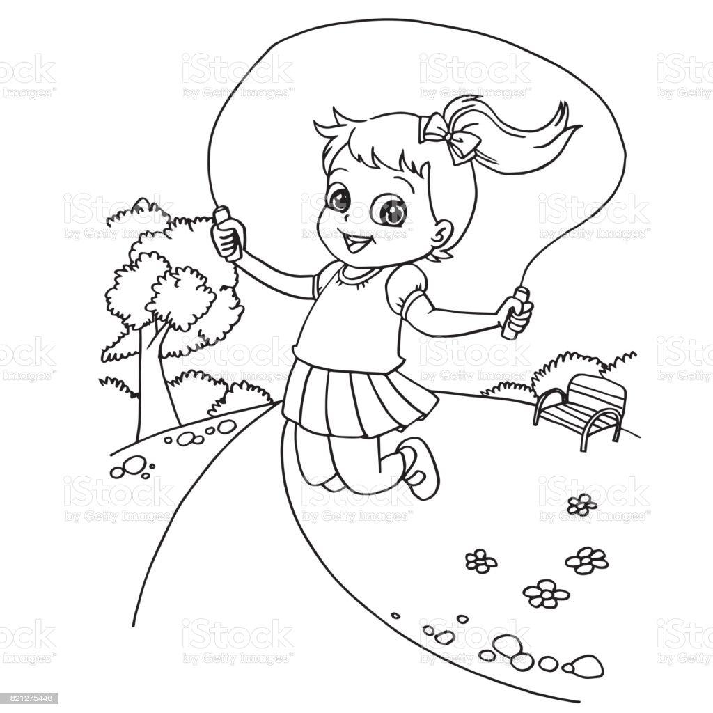 Kid Springen Touw Tekenfilm Kleurplaten Pagina Vector