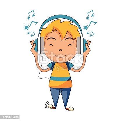 Kid Listening To Music Using Headphones Stock Vector Art ...
