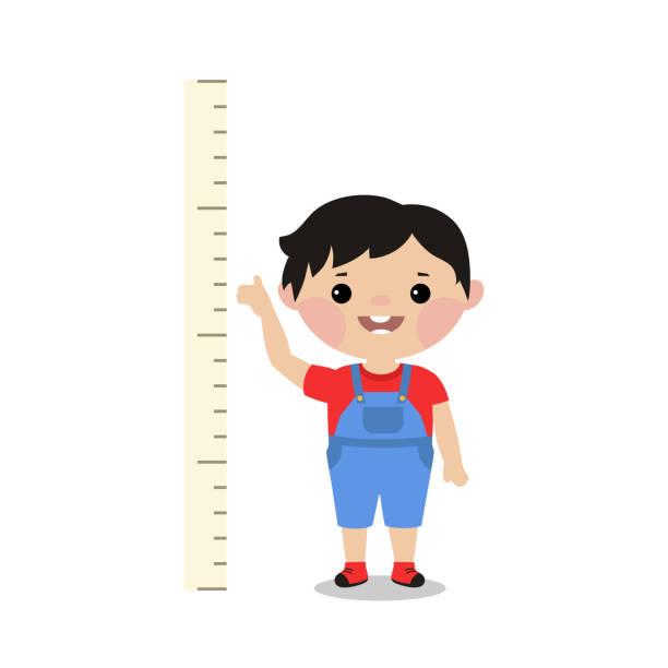 stockillustraties, clipart, cartoons en iconen met kid meet de groei. - lang lengte