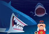 vector illustration of kid meeting angry sharks via VR goggles