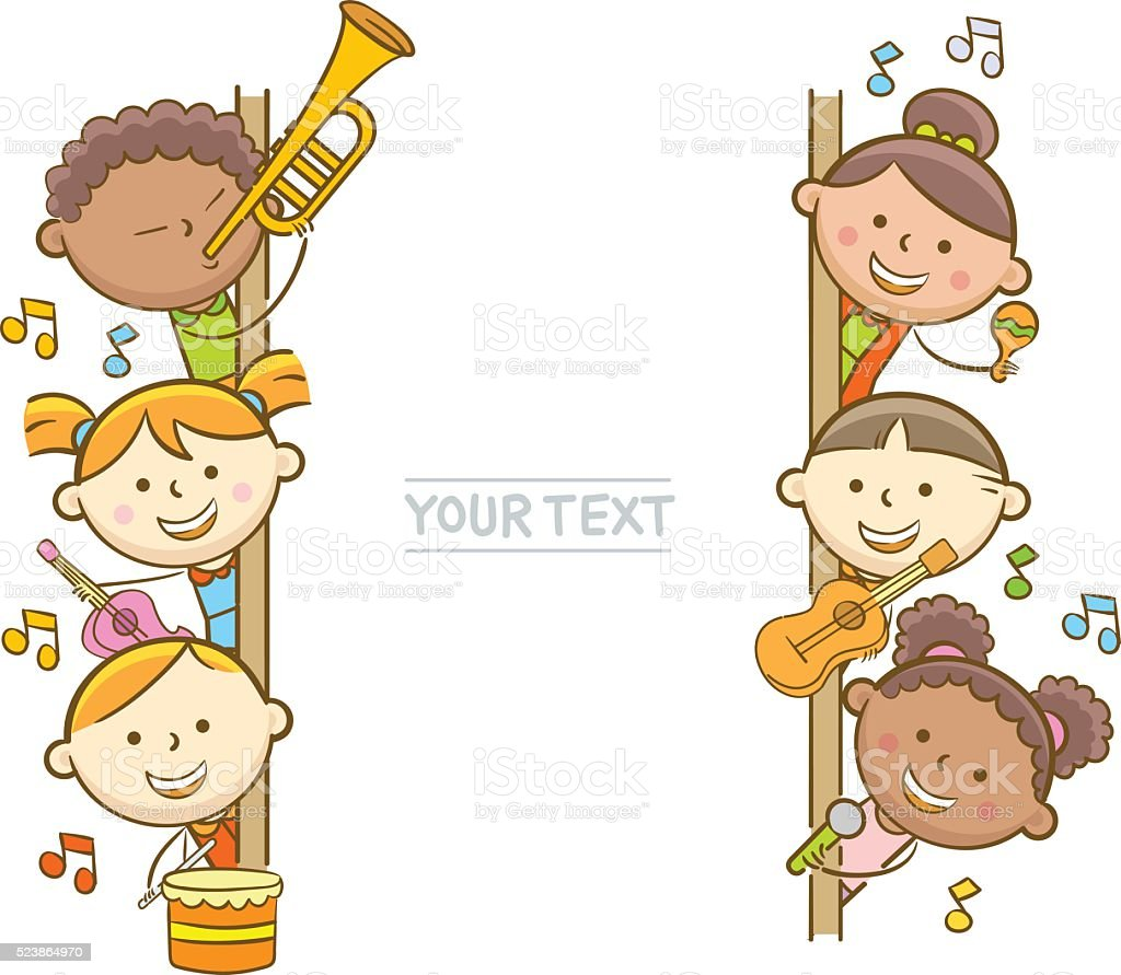Kid Musicians And Whiteboard vector art illustration