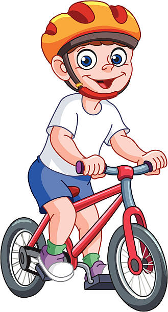 Kid on bicycle vector art illustration