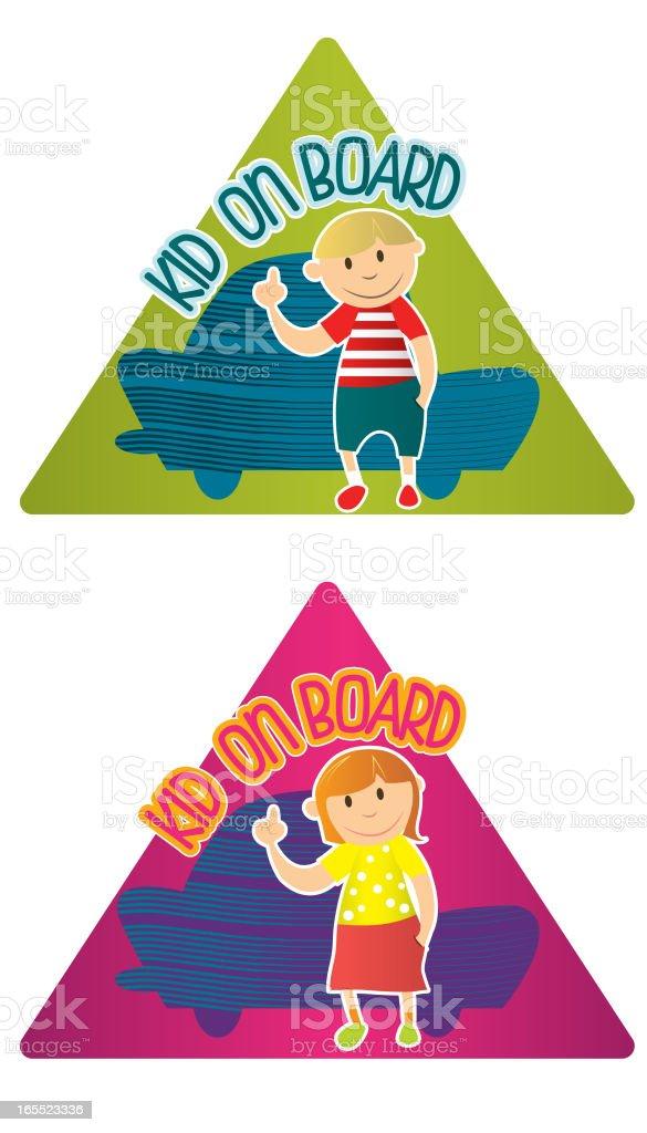 Kid on Board royalty-free stock vector art