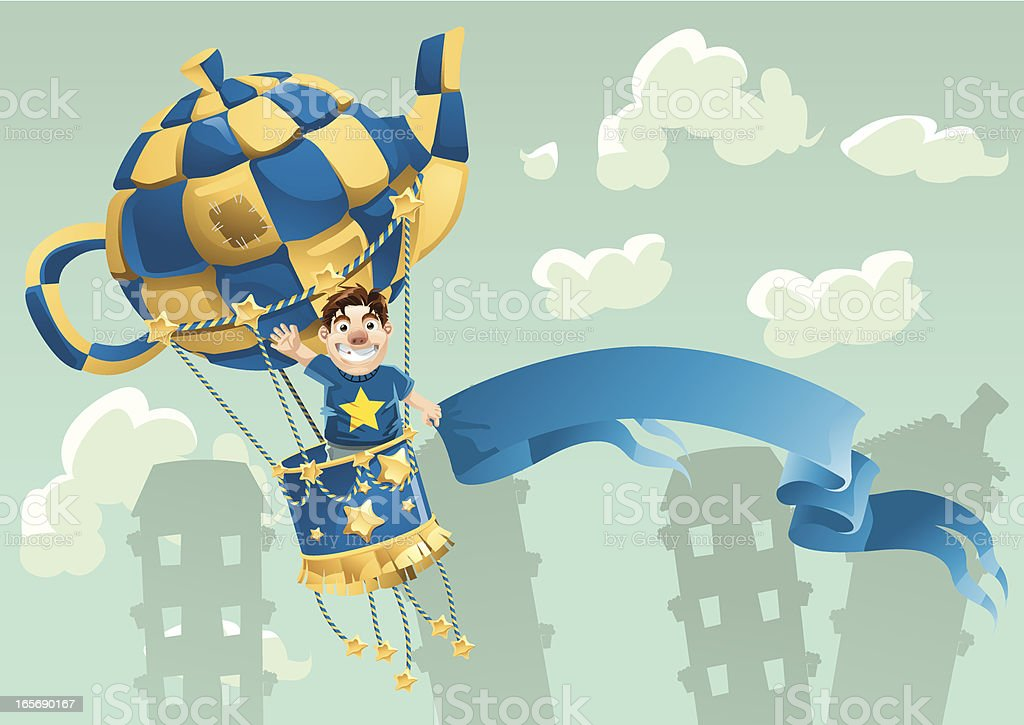 Kid on Hot Air Balloon royalty-free stock vector art